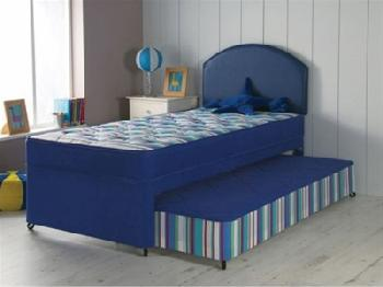 AirSprung Billy Guest Bed Set 3' Single Navy Guest Bed with Basic Mattresses Guest Bed