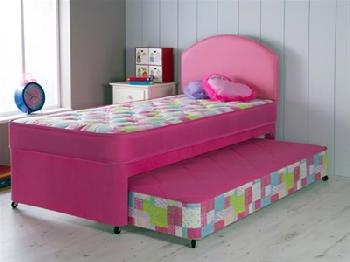 AirSprung Emma Guest Bed 3' Single Pink Guest Bed with Basic Mattresses Guest Bed