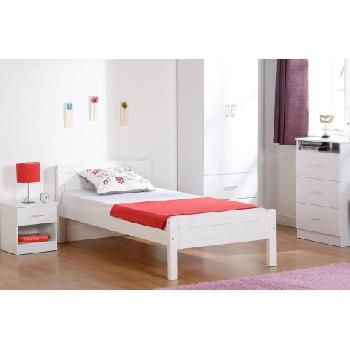 Amber Wooden Bed Frame Single White