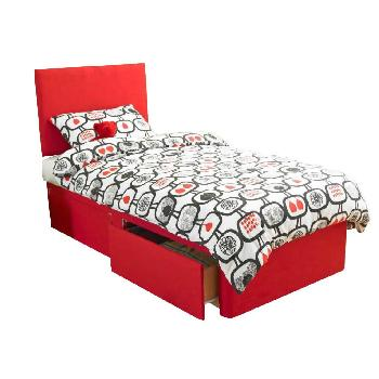 Bambini Red Divan Base Bambini Base 4ft 6 Vertical Ottoman Turin Red