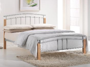 Birlea 4ft Tetras Small Double Silver Metal and Beech Bed Frame