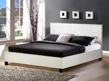 Birlea Berlin King Size White Faux Leather Bed Frame