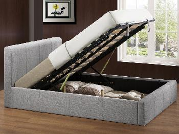 Birlea Brooklyn King Size Light Grey Fabric Ottoman Bed Frame