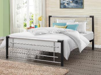 Birlea Faro King Size Black and Silver Metal Bed Frame