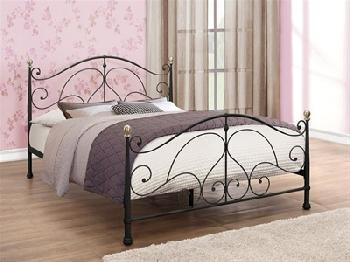 Birlea Milano Black 4' Small Double Black Metal Bed