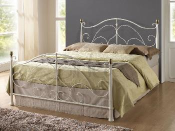 Birlea Milano Double Cream Metal Bed Frame