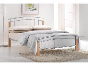 Birlea Tetras 4' 6 Double Silver and Natural Slatted Bedstead Metal Bed