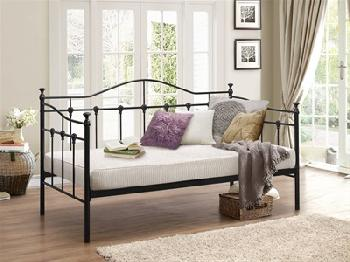 Birlea Torino Daybed 3' Single Black Slatted Bedstead Metal Bed