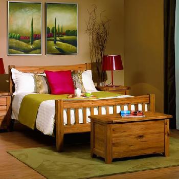 Bordeaux Rustic Oak Bedstead Double Double Wooden Beds