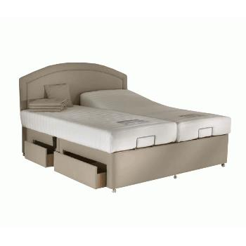 Charlotte Memory Adjustable Bed Set in Beige Charlotte Small Single 2 Drawer Bolt On Massage No Heavy Duty