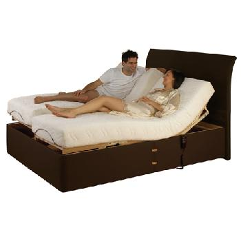 Charlotte Memory Adjustable Bed Set in Brown Charlotte Brown Small Single End Drawer Bolt On Massage No Heavy Duty