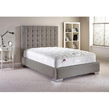 Coppella Fabric Divan Bed and Mattress Set Silver Chenille Fabric King Size 5ft