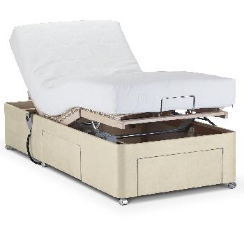 Deep Adjustable Bed with Latex Mattress - Faux Suede - Small Single - Without Massage Unit - Beige Faux Suede - None