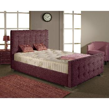 Delaware Fabric Divan Bed Frame Aubergine Chenille Fabric King Size 5ft