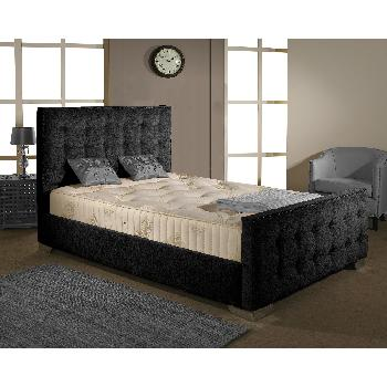 Delaware Fabric Divan Bed Frame Black Chenille Fabric Double 4ft 6