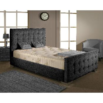 Delaware Fabric Divan Bed Frame Charcoal Chenille Fabric Super King 6ft