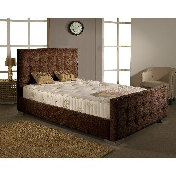 Delaware Fabric Divan Bed Frame Chocolate Chenille Fabric Double 4ft 6