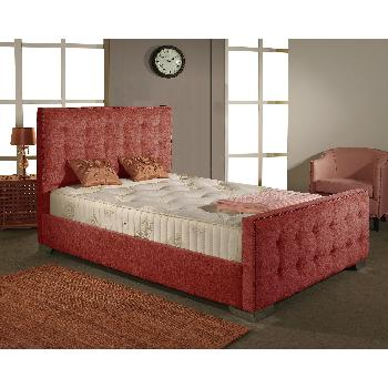 Delaware Fabric Divan Bed Frame Red Chenille Fabric Double 4ft 6