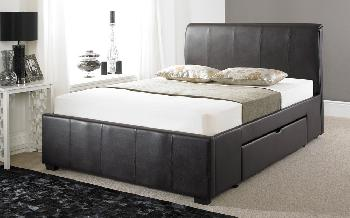 Faux Leather Drawer Bed Frame, King Size, Faux Leather - Black