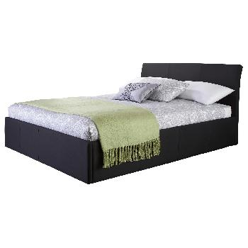 GFW Ascot Upholstered Ottoman Bed Double Black