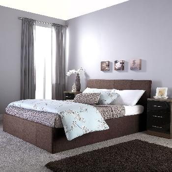 GFW Ascot Upholstered Ottoman Bed Double Brown