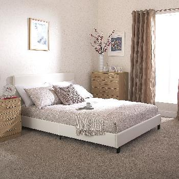 GFW Faux Leather Bed in a Box Double White