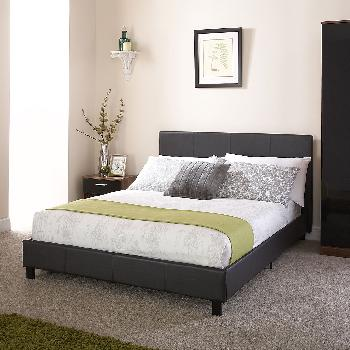 GFW Faux Leather Bed in a Box Small Double Black