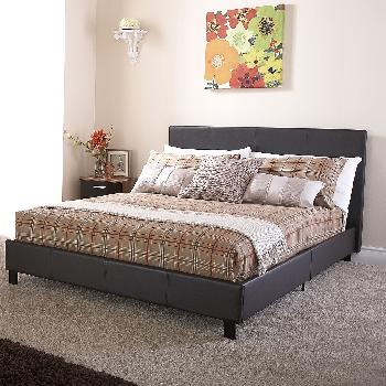 GFW Faux Leather Bed in a Box Small Double Brown