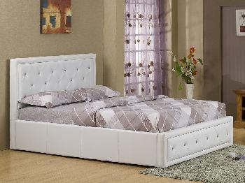 Sensational Gfw Hollywood Double White Faux Leather Ottoman Bed Frame Bralicious Painted Fabric Chair Ideas Braliciousco
