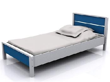 GFW Miami Blue 3' Single Blue and White Wooden Bed