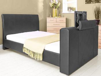 GFW New York Double Black Faux Leather TV Bed Frame