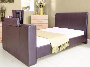GFW New York Double Brown Faux Leather TV Bed Frame