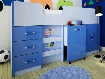 GFW Ottawa - 2-Tone Blue - Mid Sleeper (Inc. Workstation) 3' Single 2 Tone Blue Cabin Bed