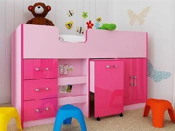 GFW Ottawa - 2-Tone Pink - Mid Sleeper (Inc. Workstation) 3' Single 2 Tone Pink Cabin Bed