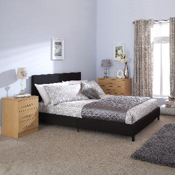 GFW Upholstered Bed in a Box Double Black