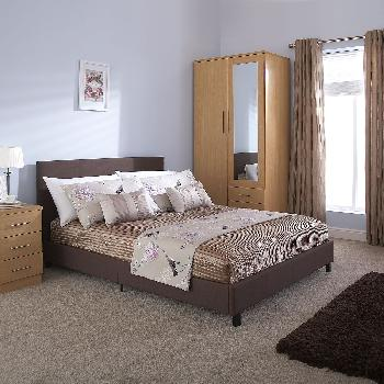 GFW Upholstered Bed in a Box Small Double Brown