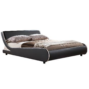 Griffin Faux Leather Italian Bed Frame Kingsize Black with White