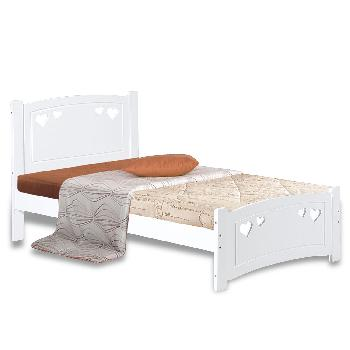 Heart White Wooden Bed Frame Single