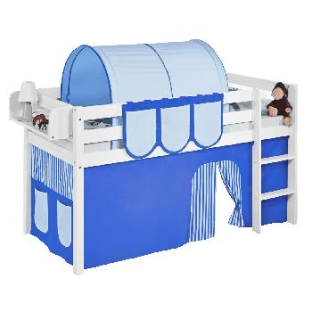 Idense White Wooden Jelle Midsleeper - Blue - With curtain and slats - Single