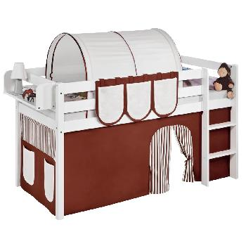 Idense White Wooden Jelle Midsleeper - Brown - With curtain and slats - Single