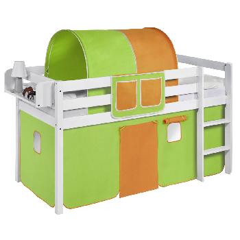 Idense White Wooden Jelle Midsleeper - Green and Orange - With curtain and slats - Single