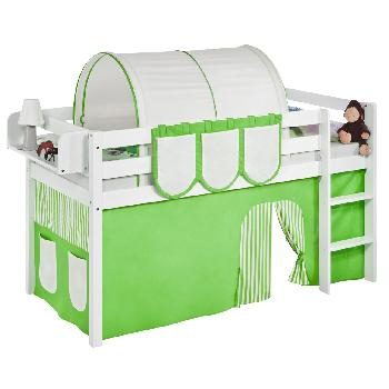 Idense White Wooden Jelle Midsleeper - Green - With curtain and slats - Single