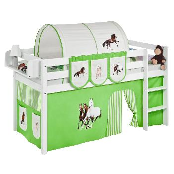 Idense White Wooden Jelle Midsleeper - Horses Green - With curtain and slats - Single