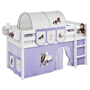 Idense White Wooden Jelle Midsleeper - Horses Lilac - With curtain and slats - Single