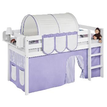 Idense White Wooden Jelle Midsleeper - Lilac - With curtain and slats - Continental Single
