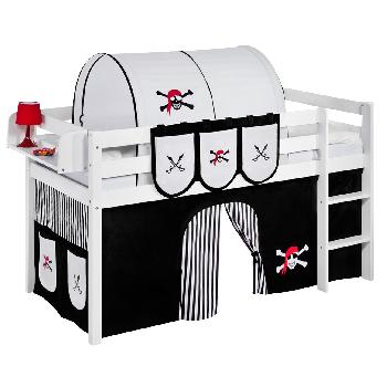 Idense White Wooden Jelle Midsleeper - Pirate Black and White - With curtain and slats - Single