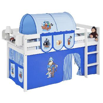 Idense White Wooden Jelle Midsleeper - Pirate Blue - With curtain and slats - Single