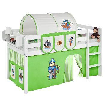 Idense White Wooden Jelle Midsleeper - Pirate Green - With curtain and slats - Single