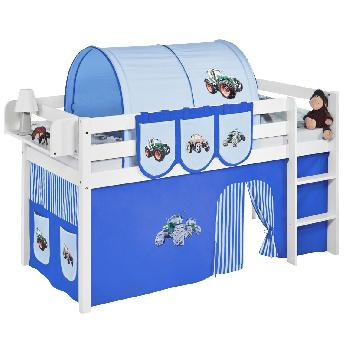 Idense White Wooden Jelle Midsleeper - Tractor Blue - With curtain and slats - Single