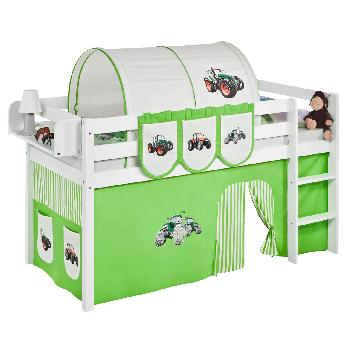 Idense White Wooden Jelle Midsleeper - Tractor Green - With curtain and slats - Single